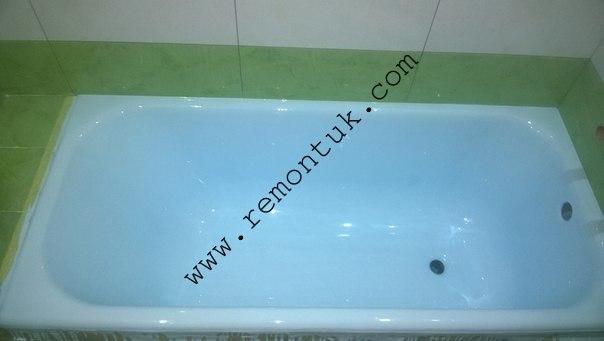 ванна синього кольору реставрована нашим у івано франківську